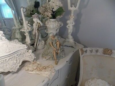 """Lg. Antique Porcelain  Dresden  Lace Germany Ballerina Figurine Statue """"as Is"""""""
