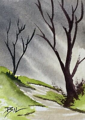 ACEO ATC original art painting by Bill Lupton - Along the Hillside