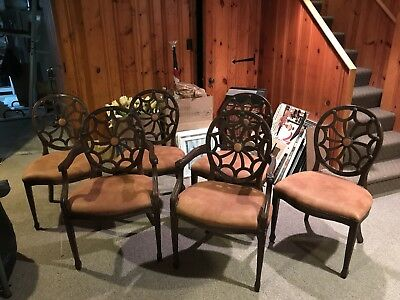 Vintage Spider  Back Dining Chairs Set 6 Newly Reupholstered