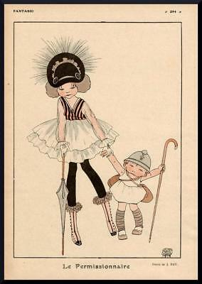 1916 ORIGINAL FRENCH VINTAGE PRINT Children / Soldier / Playing  by j. RAY F899