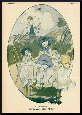 1916 ORIGINAL FRENCH VINTAGE PRINT Tea Time / Children by HOUELLEUR (F898)