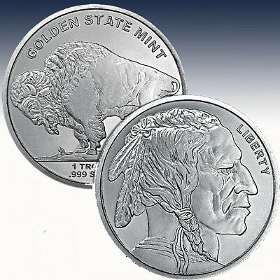 1 oz Unze Silber Silverround Golden State Mint Buffalo Silver Bullion Round