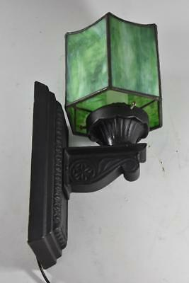 Antique Slag Stained Glass Panel Wall Sconce Iron Fixture Single Socket