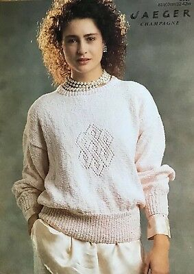 Jaeger Knitting Pattern For Lady's Sweater. To Fit 32-42 Inch Bust