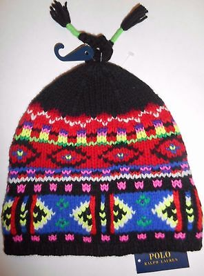 73394a349e0 Kids POLO RALPH LAUREN Girls Boys Nordic Fair Isle Wool Ski Hat Beanie OS 8-