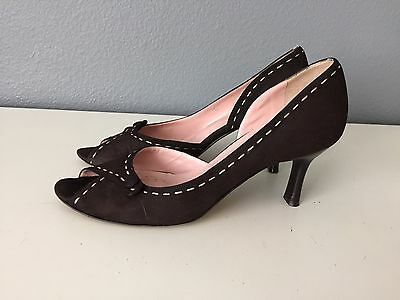 de9c91a96197 Amalfi For Nordstrom Womens Brown Suede Open Toe Heels Size 8B Italy (CB)