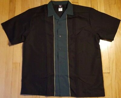 New HILTON bowling shirt XL green black button down rayon casual NWOT retro