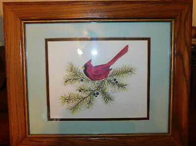 Original Signed Framed Watercolor of a Cardinal on Pines 14.5x18 Jane Giblin