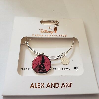 NEW Disney Parks ALEX AND ANI Aurora Awaken Your Heart Pink Silver Bracelet