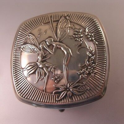 Antique 1925 Art Deco Sterling Silver Rouge & Powder Fairy Compact - Djer Kiss