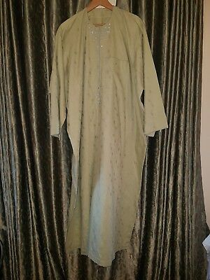Pre-owned Men's Green Embroidered African long Kaftan
