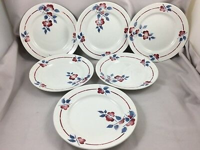 Lot de 6 Assiettes plates anciennes Céranord Saint Amand Collection IENA Fleur