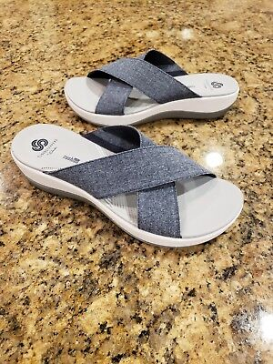 02c4475840b Clarks Cloudsteppers Sandals Arla Elin Cross Band Navy Blue Womens Shoes 9