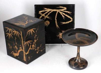 Three pieces of Japanese lacquered Items. Meiji Pd.