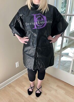 Black Vinyl Shampoo Cape With Salon Logo