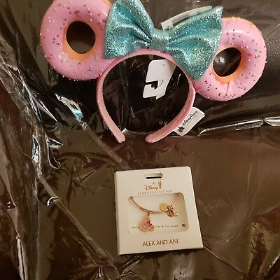 Disney  Foodie Minnie Glitter Bow Sprinkle Donut Ears Headband/ bangle bracelet