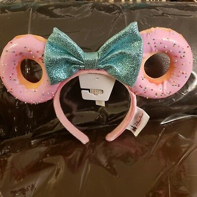 Disney Parks Minnie Glitter Bow Sprinkle Donut Ears Headband