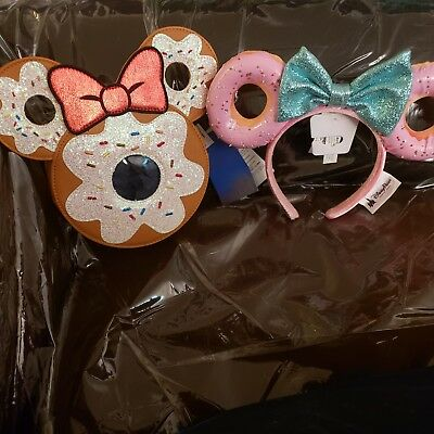 Disney Minnie Glitter Bow Sprinkle Donut Ears Headband/Matching Donut Crossbody