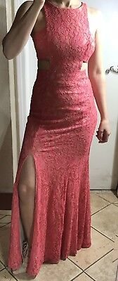 Women Long Evening Prom Cocktail Party Pink Glitter Lace With Nude Underlining