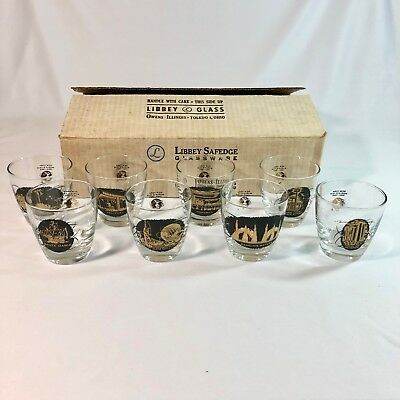 NOS 1964-65 New York Worlds Fair Old Fashioned Glasses Set of 8 in Original Box
