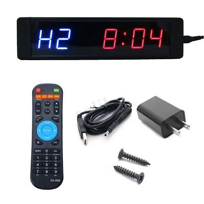 LED Programmable Crossfit Interval Timer Wall Clock w/Remote For Tabata Fitness