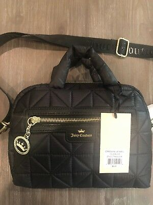 b5adff644f NWT Juicy Couture Crown Jewel Quilted Fabric Black Crossbody Bag Small