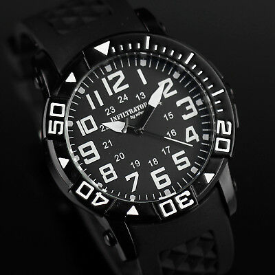 Infantry Infiltrator Mens Quartz Wrist Watch Analog Army Sport Black Rubber New