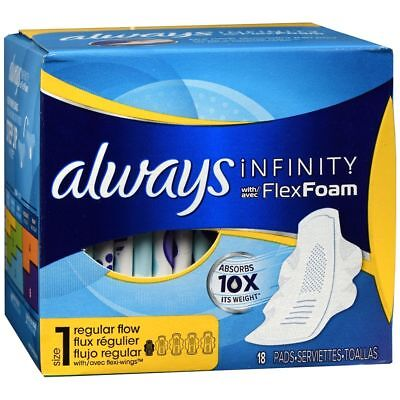Always Infinity with FlexFoam Pads with Flexi-Wings Size 1 Regular 18 EA 2 Packs
