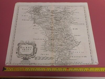 100% Original Large Derbyshire  Map By Robert Morden C1722 Low Post