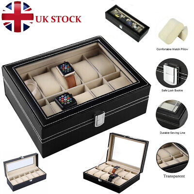 12 Grids Faux Leather Watch Case Display Box Jewellery Gift Collection Holder UK