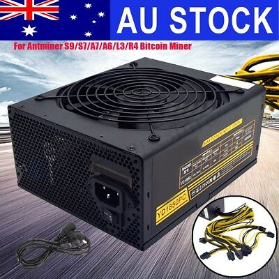 1850W Mining 6 Pins Power Supply for Antminer S9/7 A7/6 L3 R4 Bitcoin Miner Gold