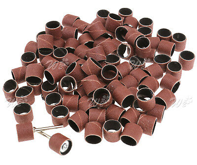 100Pcs 1/2'' Sanding bands sleeves With 2 Mandrels For Rotary Tools Kit