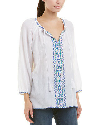 81c8dc08dc7 NYDJ WOMENS WHITE Gauze Embroidered Long Sleeves Peasant Top Plus 2X ...