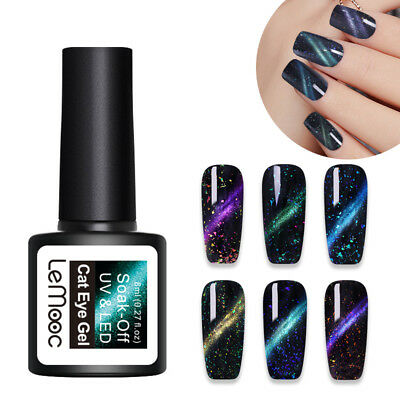 LEMOOC 8ml Chameleon Cat Eye UV Gel Polish Sequins Magnetic Soak Off Nail Art
