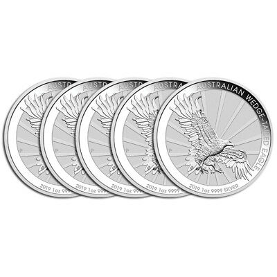 5 x 1 oz Silber Wedge Tailed Eagle 2019 - 1 Dollar Australien - in Münzkapsel