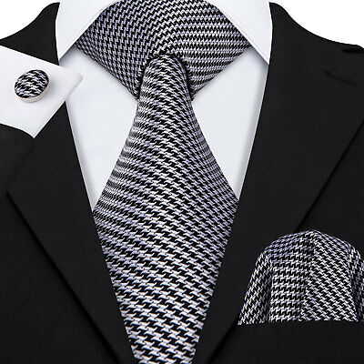 UK Barry Wang Men Ties Necktie Black Silk Stried Tie Handkerchief Set Wedding