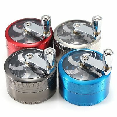60 mm 4 layer Zinc Alloy Hand Crank Herb Mill Crusher Tobacco Smoke Grinder Pip|
