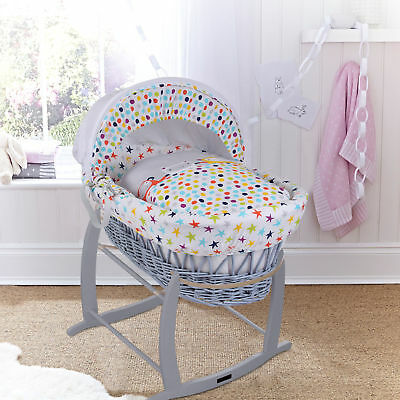 New Clair De Lune The Dudes Padded Grey Wicker Baby Moses Basket & Rocking Stand
