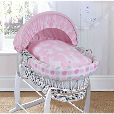 New Clair De Lune Rabbits Pink White Wicker Baby Girls Moses Basket & Mattress