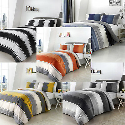 Fusion BETLEY Modern Wide Striped Duvet Cover/Quilt Cover Set Bedding Bed Set