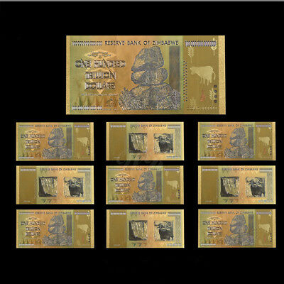 WR 10pcs Zimbabwe 100 Trillion Dollars Banknotes Color Gold Bill /w Certificate