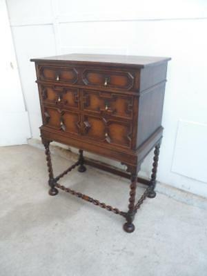 A Superb 1920s Golden Oak Barley Twist 1 Piece 3 Drawer Chest of Drawers