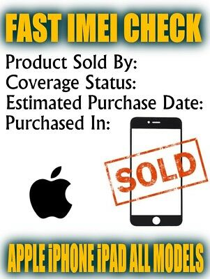 FAST Apple iPhone iPad  Check SOLD to by IMEI Checker Purchased Country