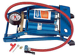 Draper 25996 Double Twin Cylinder Foot Pump With Gauge 890004