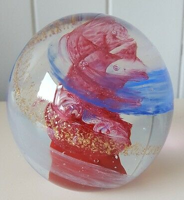 HANDMADE RED/BLUE/GOLD GLASS PAPERWEIGHT, 9cm WIDE, VORTEX DESIGN, BRAND NEW