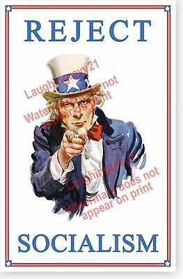 Retro Uncle Sam Reject Socialism Political Propaganda Poster