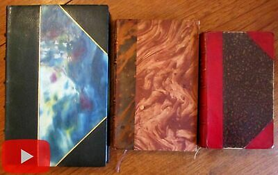Leather bindings x3 c.1900-1922 France lovely French literary books marbled gilt
