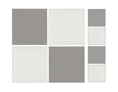 iStyle Reversible White and Grey Placemats and Coasters Set of 4 Table Drink Mat