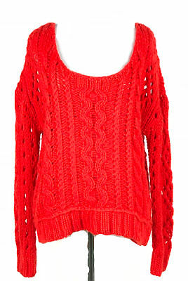 ef98d8165 Free People Women s Red Sweater Wool Mohair Chunky Cable Knit Slouchy Size  Small
