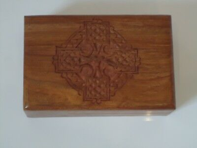 Celtic Cross Jewellery Box Wooden Indian Hand Made Trinket Chest  Very Nice Gift